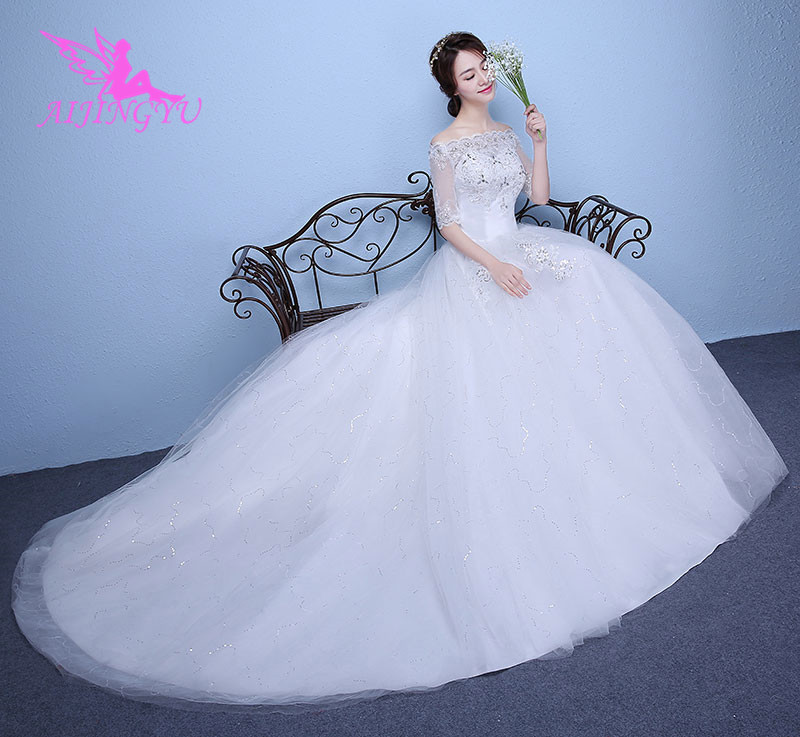 AIJINGYU 2018 bridal free shipping new hot selling cheap ball gown lace up back formal bride dresses wedding dress WK119