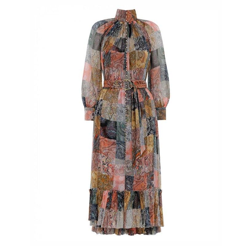 GoodliShowsi 2019 lato kobieta sukienki New Arrival Vintage Plaid Print połowy łydki dekolt w serek imperium sznurowania długa latarnia rękaw w Suknie od Odzież damska na  Grupa 1