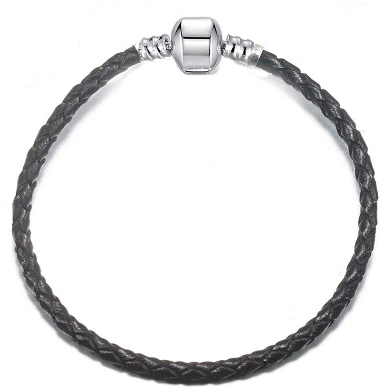 BAOPON, Прямая поставка, высокое качество, 9 цветов, кожаная цепочка, браслеты с подвесками, сделай сам, прекрасный браслет для женщин, девушек, ювелирное изделие, подарок - Окраска металла: Black-1