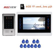 "Free Shipping 720P AHD 1200TVL 7"" Screen Video Door Phone Intercom Unlock Record System Code Keypad RFID Access Doorbell Camera"
