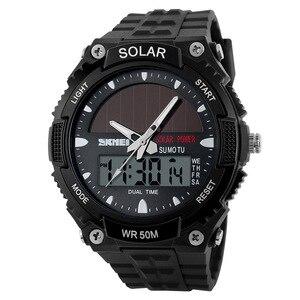 Image 3 - SKMEI SOLAR POWER Männer Sport Uhren LED Digital Quarz Uhr 5ATM Wasserdichte Outdoor Kleid Solar Uhren Militär Uhr Solar