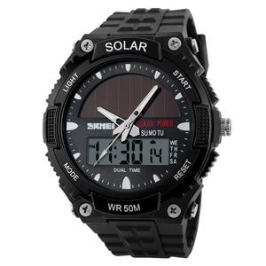 Image 3 - SKMEI SOLAR POWER Men Sports Watches LED Digital Quartz Watch 5ATM Waterproof Outdoor Dress Solar Watches Military Watch Solar