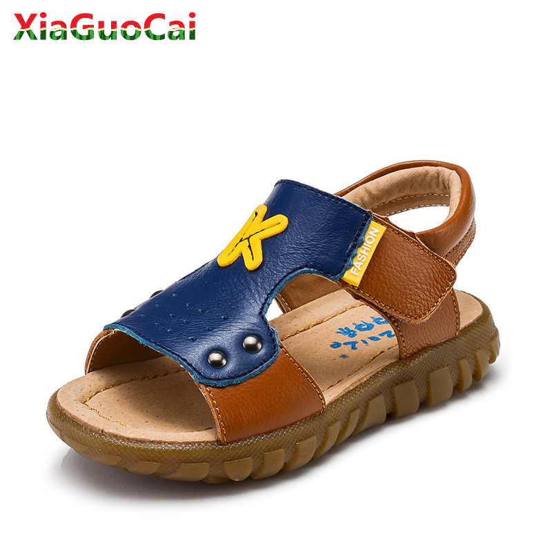2018 New Summer Kids Shoes Genuine Leather Non-slip Boys Girls Sandals children beach shoes Hook&Loop High quality Shoes A19 10