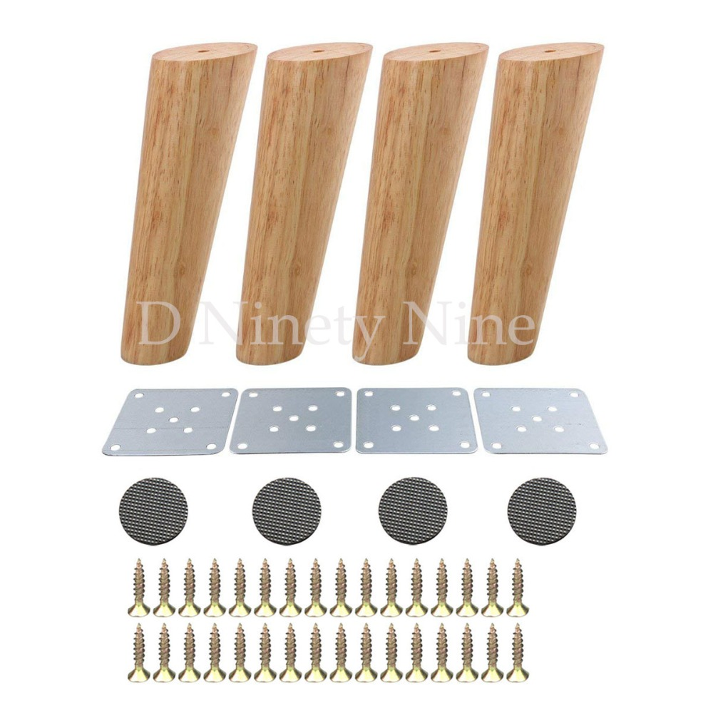 4Pcs Oak Wood 180x56x38mm Height Reliable Inclined Furniture Leg With Iron Plate Sofa Table Cupboard Feet