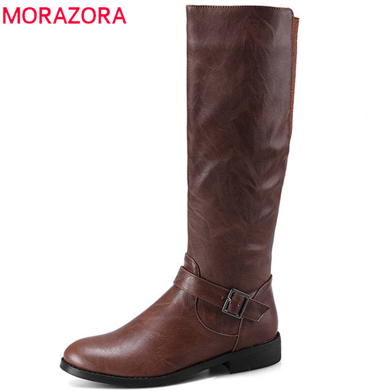 MORAZORA 2018 big size 34-43 round toe autumn boots women zipper with buckle knee high boots causal fashion shoes woman