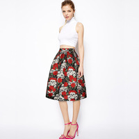 European Style Trend New Rose Skeleton Skirts Ladies Women Fashion A Line Knee Length Zipper Up
