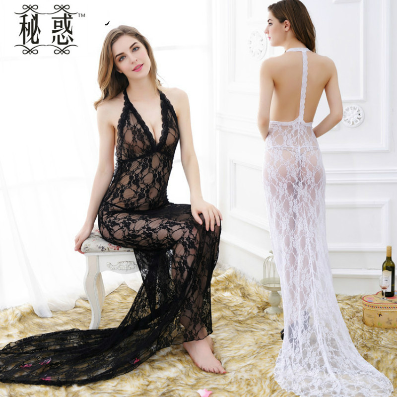 Kuper Cherry 2 Colors Women Lingerie Sexy Hollow Lace Transparent Long Dress Underwear High Elasticity Costumes