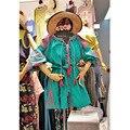 2016 das mulheres bordado cintura fina vestido curto vintage Manga Lanterna estilo boho vestidos hot sale solto plissado vestido queda