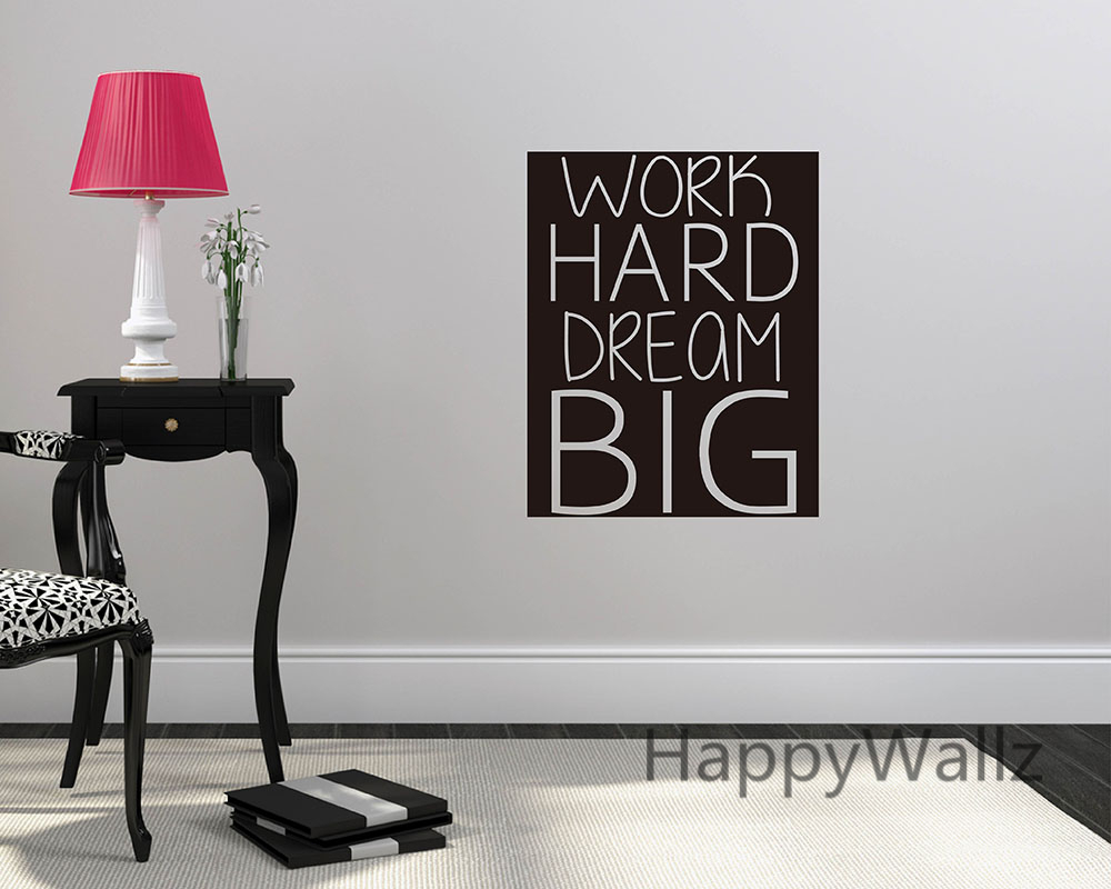 motivational work promotion shop for promotional motivational work work hard dream big motivational quote wall sticker dream big decorative inspirational quote office wall decal custom colors q92