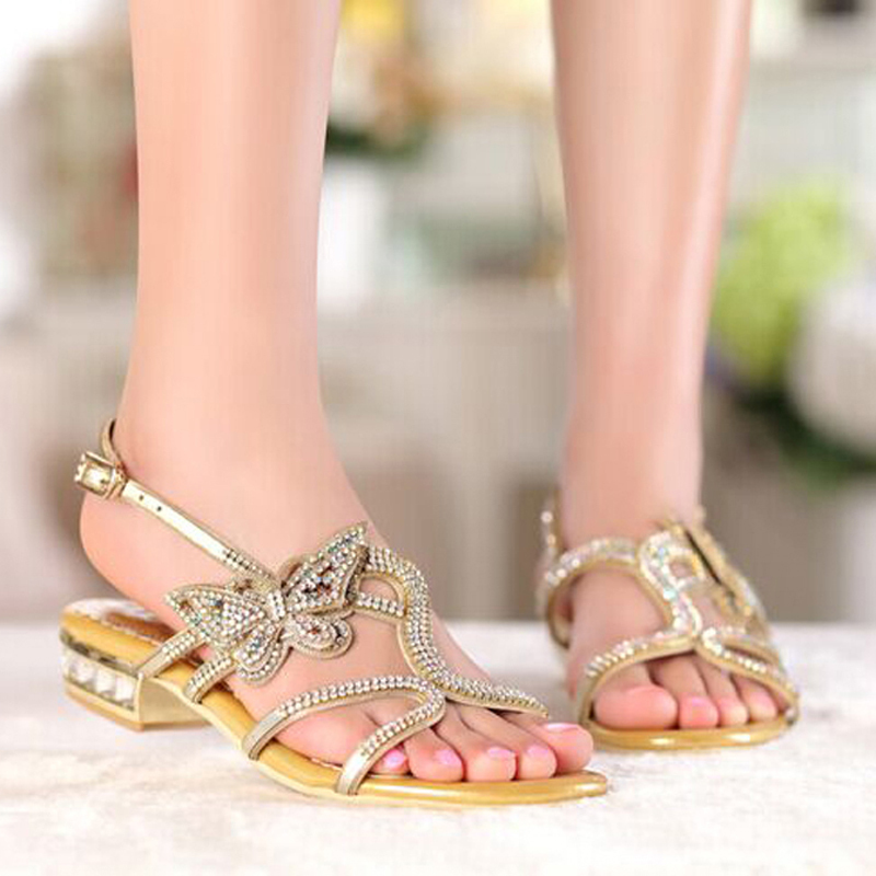ФОТО New Summer Sandals Open Toe Shoes Comfortable Female Slippers Gold Black Color Women Sandals