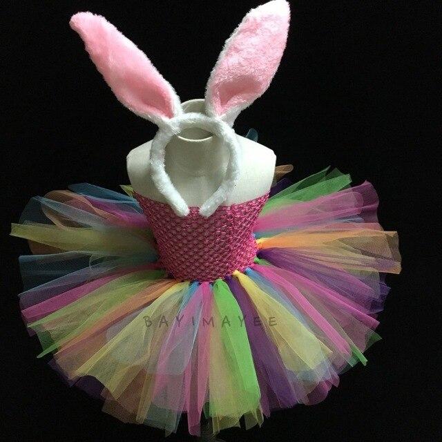 Regenboog Kleur Meisjes Baby Handgemaakte 2 Lagen Tulle Ballet Jurk