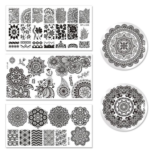 Born Pretty 5pcs Stamping Plate Mandala Series Stencil Round