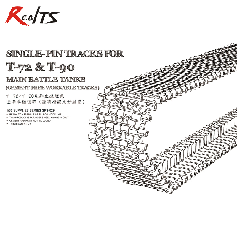 RealTS Meng Model SPS-029 1/35 Single pin tracks for T-72 & T-90 main battle tank cement-free workable tracks realts meng model 1 35 ts 014 t 90 russian main battle tank w tbs 86 tank dozer instock