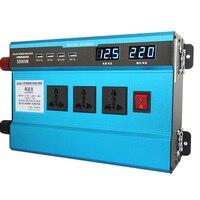 3000 Вт автомобильный инвертор 4 USB 12 В/24 В до 220 В двойной цифровой Дисплей защиты Напряжение modefied синусоида автомобильный преобразователь