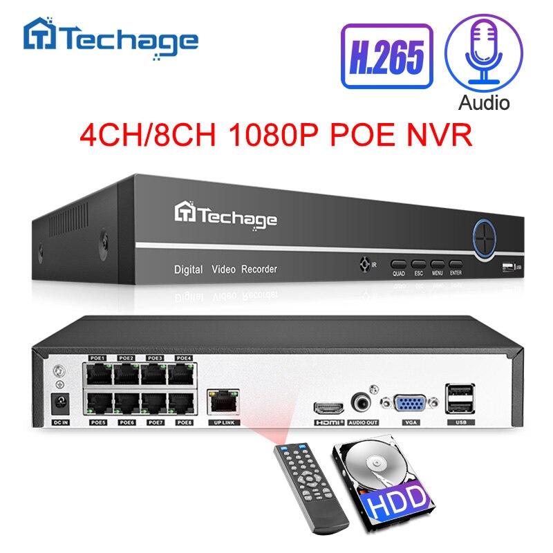 H.265 8ch 4ch 1080 p 2.0mp 48 v poe nvr gravação de áudio gravador de vídeo de rede para onvif poe ip câmera sistema de vigilância de segurança