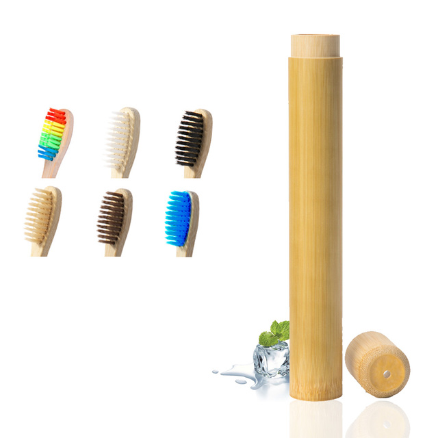Azul Natural de bambú cepillo de dientes con cerdas suaves de bambú de fibra de madera de la manija de bambú cepillo de dientes tubo portátil de Cuidado Oral conjuntos