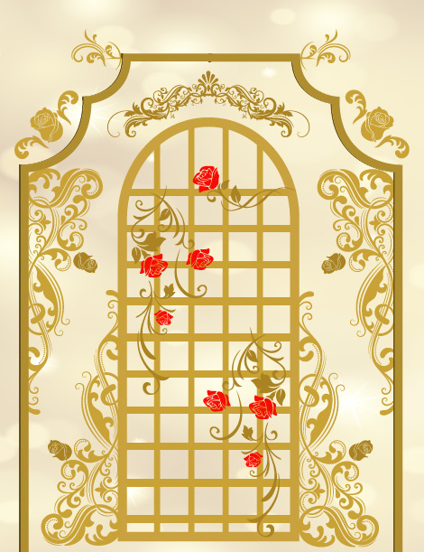 5x7ft Gold Frame Wall Red Rose Flowers Beauty Beast Custom Photo
