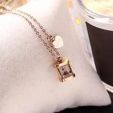 Stainless Steel Heart Hourglass Necklace For Women Rose Gold Color Short Necklaces & Pendants Fashion Jewelry vintage hourglass necklaces men stainless steel unisex necklaces pendants for women necklace jewelry wholesale