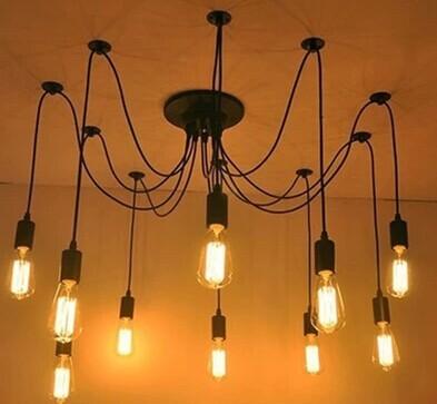 Frete grátis 10 braços de ferro iluminação tomada industrial DIY preto E27 luminária com lâmpada de edison lâmpada 220 V para casa decoração