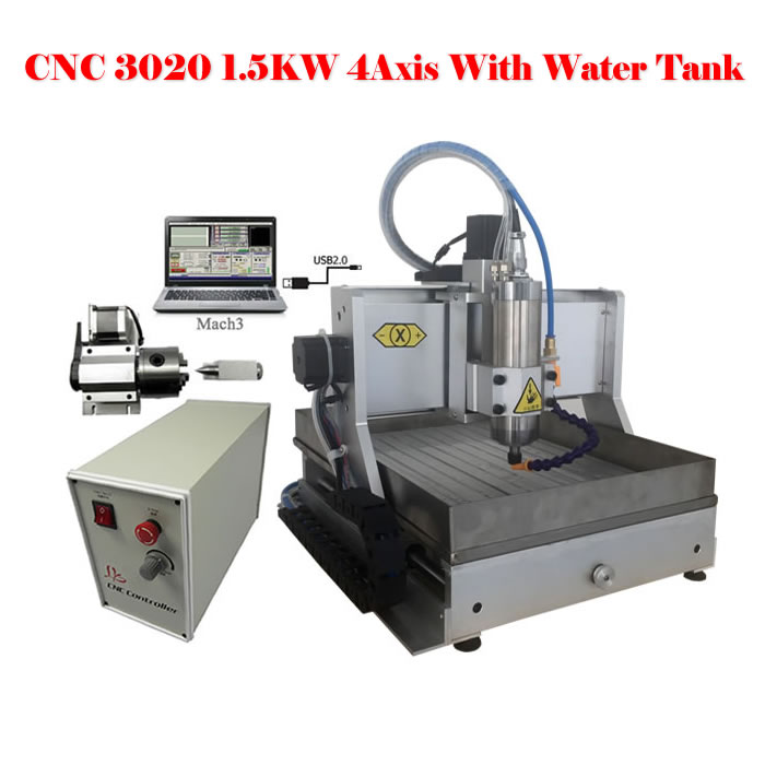 LY3020Z-VFD1.5KW 4 axis usb port mini CNC milling machine with 1500W spindle and water tank free tax to RU russia tax fre cnc mill usb port 4 axis rotary aixs 3040 mini cnc milling machine 1500w spindle with water tank spray