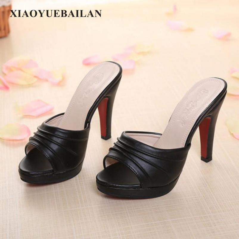 White High-heeled Slippers, Sexy Fish Mouth, Cold Mop, Fine Heel, Black Work Shoes, Fashionable Sandals, One Word Drag Toe Shoes the new type of diamond mother sandals lady leather fish mouth flowers with leather high heeled shoes slippers women shoes
