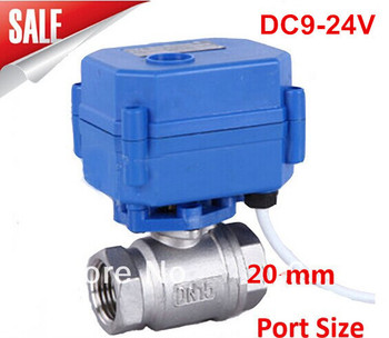 Motorized Ball Valve 3/4 DN20 DC9-24V ,CR03 Wire 2 way Stainless Steel 304 Electric Ball Valve motorized ball valve 3 4 dn20 ac220v 2 way stainless steel 304 electric ball valve cr03 wire