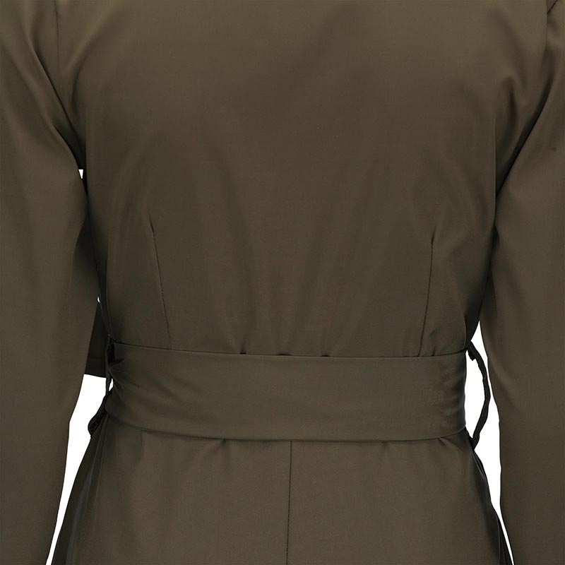 ca988eb2acf3 Young17 Army Green Black Preppy Office Dress High Waist Long Sleeve Turn  Down V Neck Belt