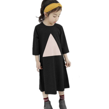 4 to 10 years kids & teenager girls half-sleeve triangle print cotton casual flare tee dress child spring summer midi dresses