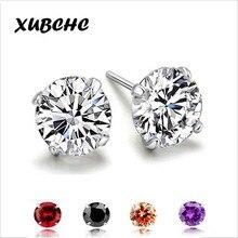 XUBCHC Cubic Zirconia 24 Style Silver Color Red Black Zircon Earrings For Women Crystal Stud Earring Fashion Wedding Jewelry