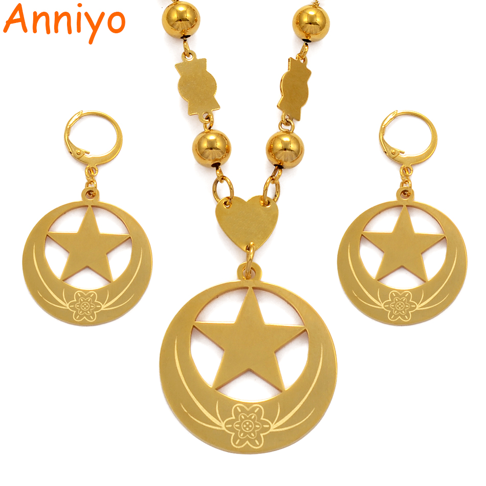 Anniyo Star and Flow Big Size Jewelry sets Bead Necklace Earrings for Womens Gold Color Micronesia Guam Hawaii Marshalls #076721