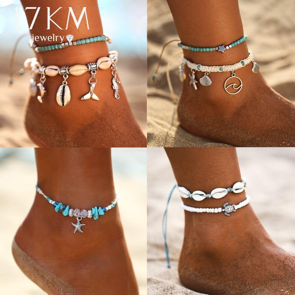 Starfish Pendant Anklets 2019 For Women New Stone Beads Shell Anklet Bohemian Bracelets On Leg BOHO Ocean Jewelry Drop Shipping