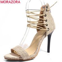 5858036f6d MORAZORA 2019 chegada nova gladiador sandálias mulheres sapatos de verão  zip cruz amarrada sexy fino salto