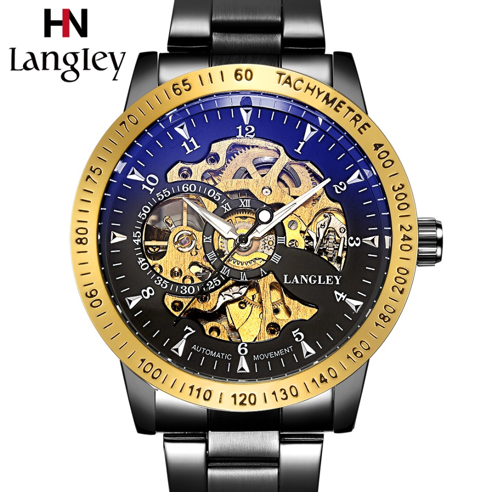 LANGLEY Automatic Watches Men Luxury Brand Stainless Steel Mechanical Watches Male Classic Fashion Skeleton Watch Zakelijke Klok