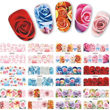 12 designs colorful rose flower decals nail art water transfer stickers full wraps decor nails tools labn553-564