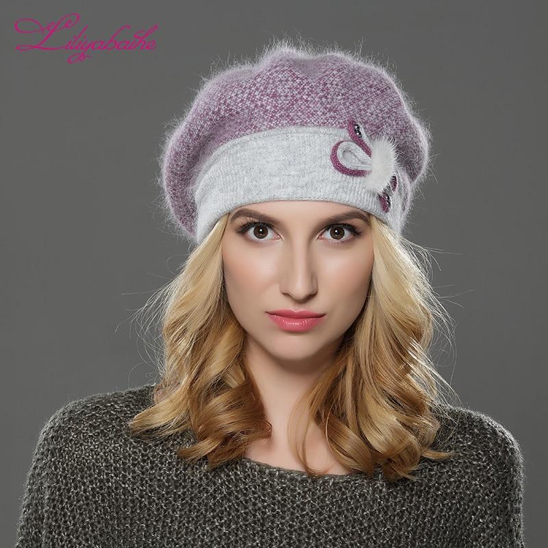 LILIYABAIHE JAUNA ziema Sieviešu berete cepure adīta vilna angora berete patchwork stilīga ūdeles ziedu dekoratīvā vāciņa Dubulta silta cepure