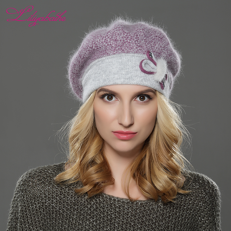 LILIYABAIHE NOVO zimske ženske bereta klobuk pletene volne angora bereto mozaik stilsko mink cvet dekoracijo kapo dvojno toplo klobuk  t
