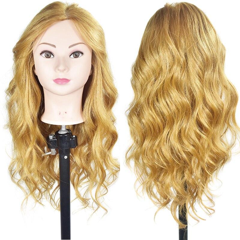 65 cm 60% Animal Cheveux Mannequin Tête avec Pince Titulaire De Coiffure Tête de La Formation Pratique Cheveux Mannequin Tête Styling Outils