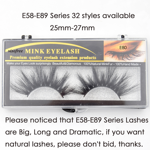 Visofree Eyelashes Mink Eyelashes Criss-cross Strands Cruelty Free 3D 25mm Lashes Mink Lashes Soft Dramatic Eyelashes E80 Makeup 5