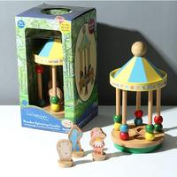 Candice guo In the night garden toy wooden spinning gazebo Merry go round style kiosk block pillar colorful beads christmas gift