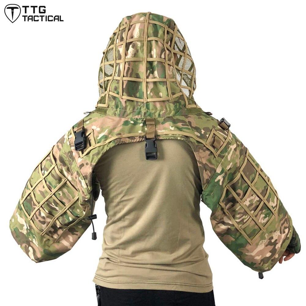 Base de costume de Sniper tactique ttg Ghillie, Camouflage RIPSTOP Sniper Tog Ghillie Hood boisé/CP/ACU/océan/forêt numérique - 3
