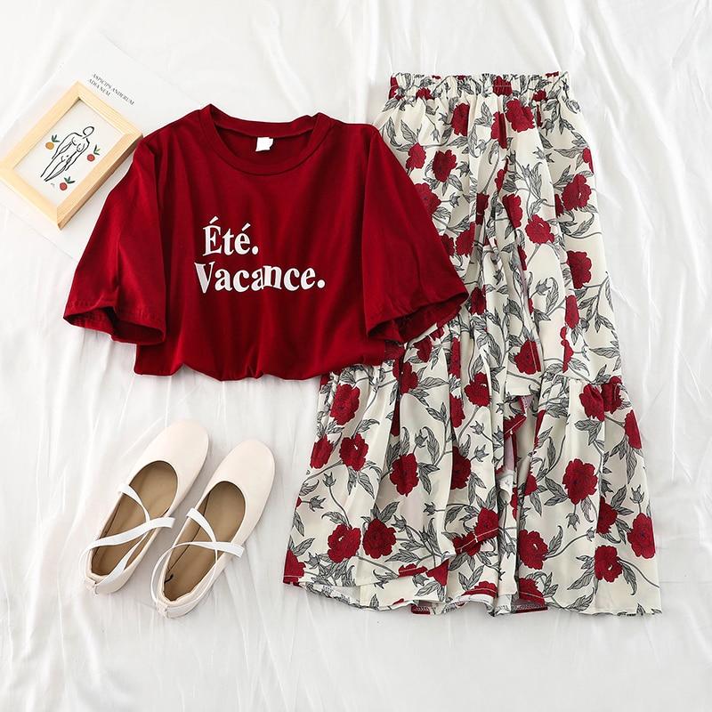 b7c52ee39 2019 nueva moda mujer conjunto de dos piezas suelta camiseta blusa + faldas  de gasa floral con ...