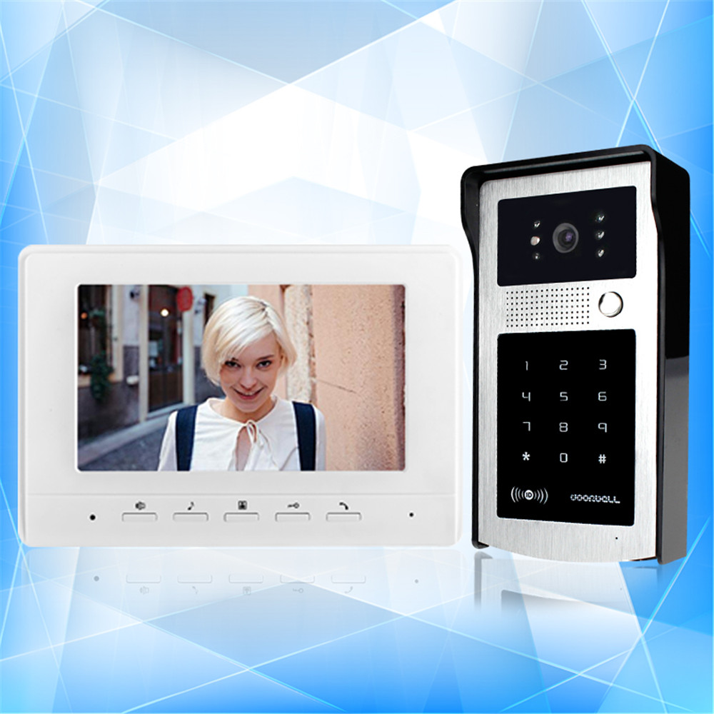 New 7'' TFT-LCD wired color RFID video door phone with password keypad outdoor unit camera intercom doorbell system 7 inch video doorbell tft lcd hd screen wired video doorphone for villa one monitor with one metal outdoor unit rfid card panel