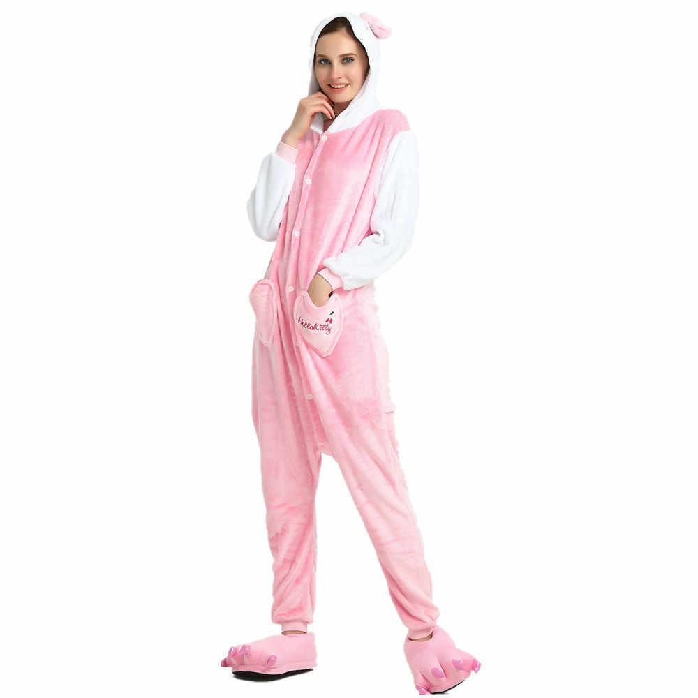 Рождество Onesie взрослых кугуруми кигуруми розовый Кот животных комбинезоны  пижамы костюм комбинезон для женщин зима 9bc008e0d3ffc