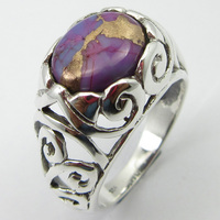 Purple Copper Turquoises Ring Sz 7 Pure Silver New Handmade Jewelry Unique Designed