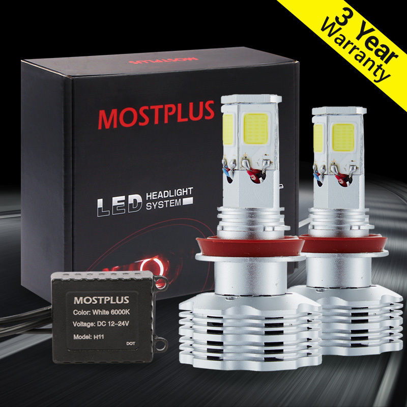 MOSTPLUS 120W 12000lm COB LED Headlight Kit H8 H9 H11 low beam HID 6000K Bulbs