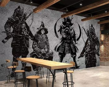 beibehang Custom wallpaper large high-end retro hand-painted Japanese Samurai cement wall Japanese restaurant mural wall free shipping custom wallpaper mural retro japanese traditional culture restaurant sushi shop background wall painting deco