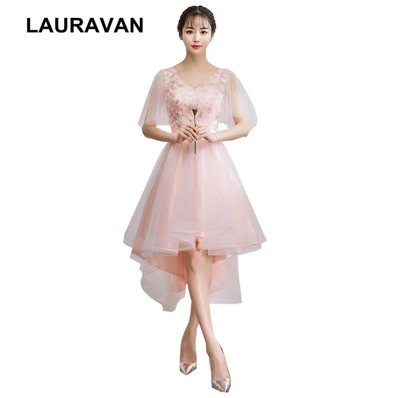 Robe 2019 soiree mariage nouvelle mode haut bas plafonné col en v femmes conception ado soirée robes de soirée tulle fille robe rose
