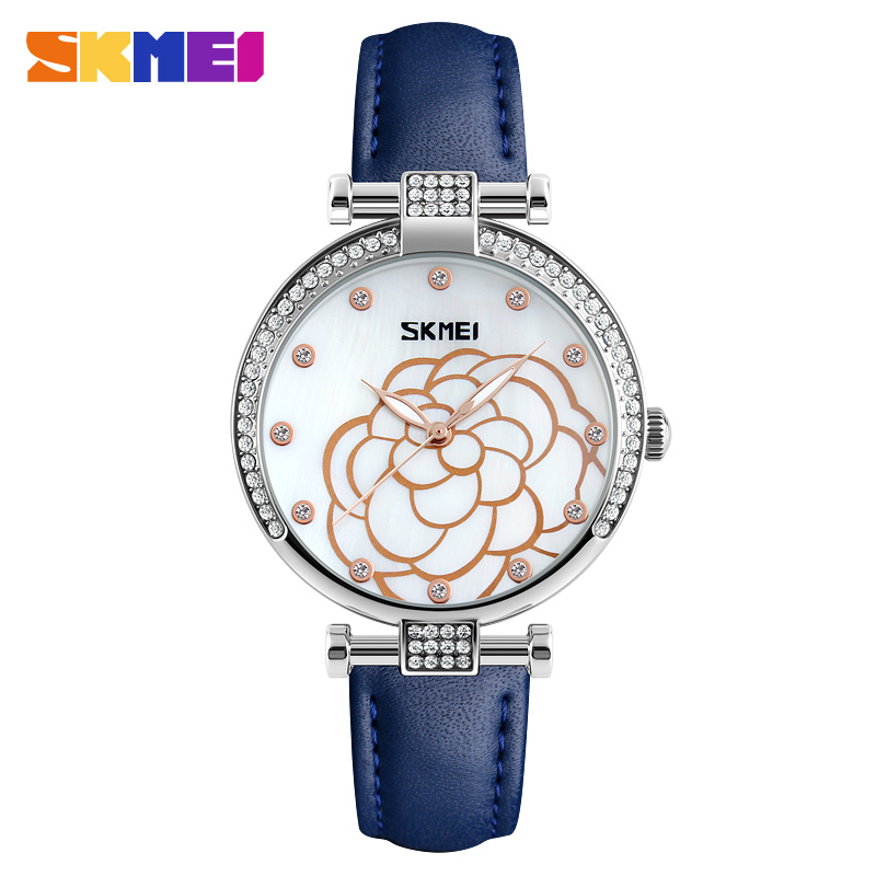 SKMEI Diamond Watches Women Leather Quartz Rhinestones Waterproof Ladies Watch Luxury Top Brand Wristwatches Relogio Feminino