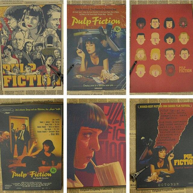 Pulp Fiction/clássico filme de Quentin Tarantino/papel kraft/bar poster/Retro Cartaz/pintura decorativa 42*30 cm