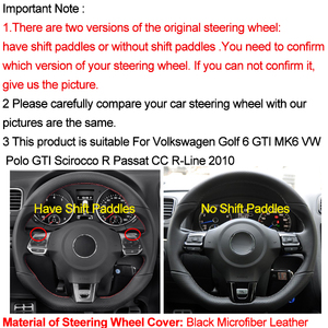 Image 2 - HuiER Hand Sewing Car Steering Wheel Cover Red Marker For Volkswagen Golf 6 GTI MK6 VW Polo GTI Scirocco R Passat CC R Line 2010
